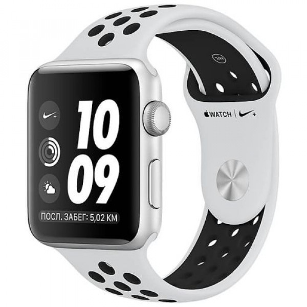 Apple WATCH Nike+ GPS, 38mm Silver Aluminium Case with Pure Platinum/Black Nike Sport Band (MQKX2)