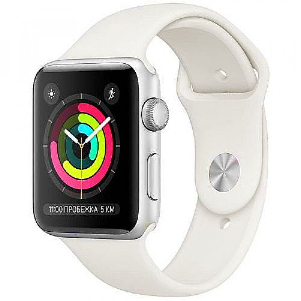 Apple WATCH Series 3, 42mm Silver Aluminium Case with White Sport Band (MTF22)