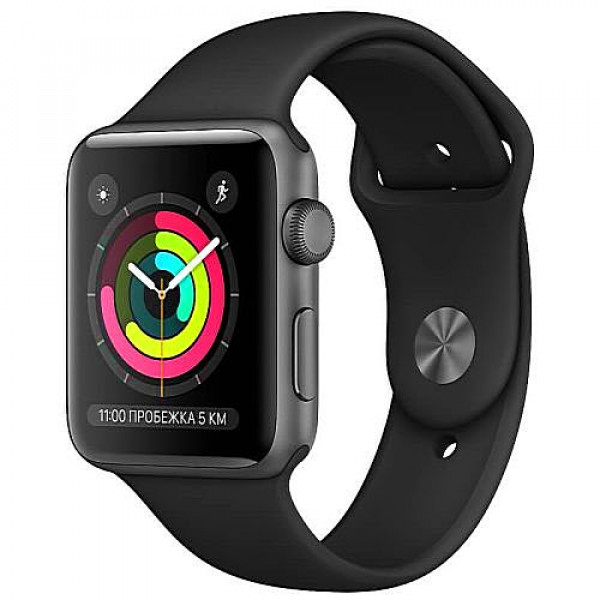 Apple WATCH Series 3, 42mm Space Gray Aluminium Case with Black Sport Band (MTF32)
