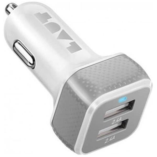 Автомобильное зарядное устройство LAUT PD02 White (2x12W/2.4A)