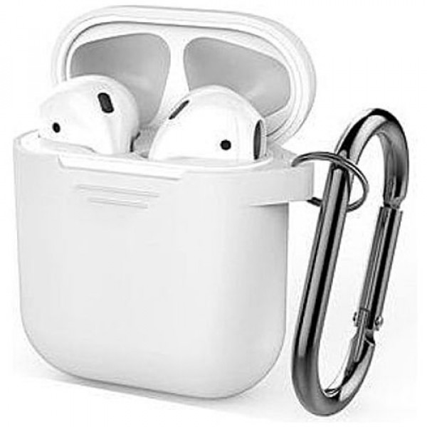 Чехол для наушников AhaStyle Silicone Case for AirPods with Belt White (X001JBMBJX)