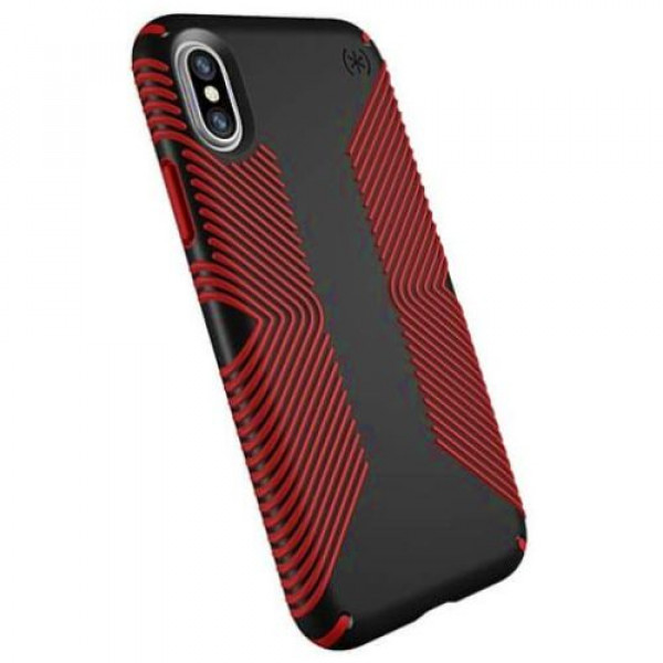 Чехол-накладка Speck for Apple iPhone XS/X Presidio Grip Black/Dark Poppy Red (SP-103131-C305)