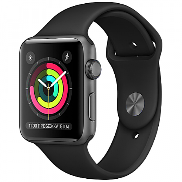 Apple WATCH Series 3, 38mm Space Grey Aluminium Case with Black Sport Band (MQKV2)