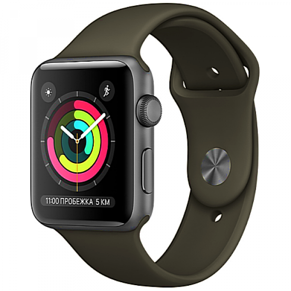 Apple WATCH Series 3, 38mm Space Grey Aluminium Case with Grey Sport Band (MR352)