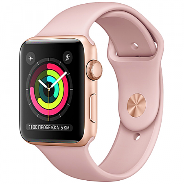 Apple WATCH Series 3, 42mm Gold Aluminium Case with Pink Sand Sport Band (MQL22)