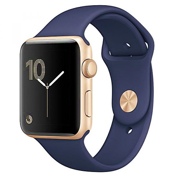 Apple WATCH Series 2, 38mm Gold Aluminium Case with Midnight Blue Sport Band (MQ132)