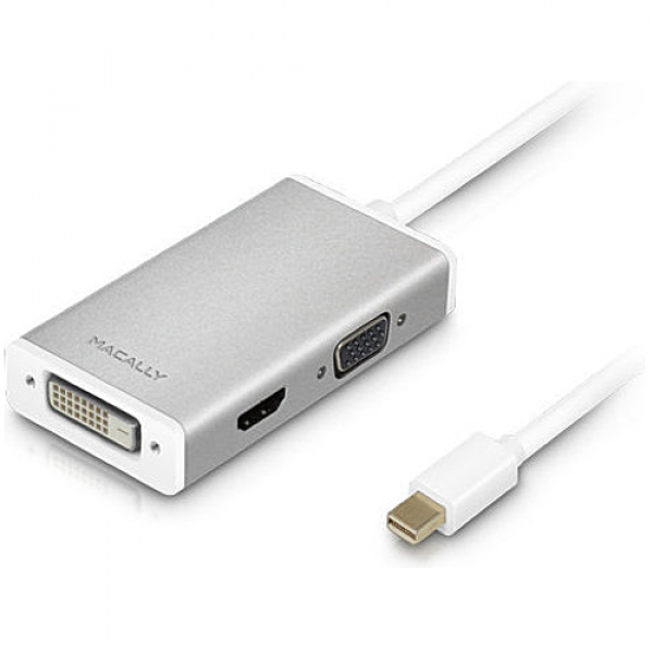 Адаптер Macally Mini DisplayPort to 3 in 1 DVI/HDMI/VGA 4K (MD-3N1-4K)