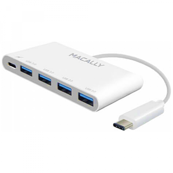 Адаптер Macally 3 port USB 3.0 hub & с зарядным 3.1 USB-C (UC3HUB4C)