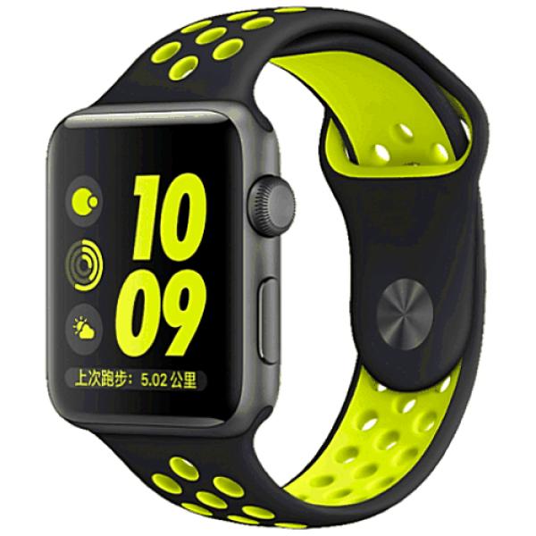 Ремешок COTEetCI W12 Apple Watch Nike band 38mm Black/Yellow (WH5216-BK-YL)