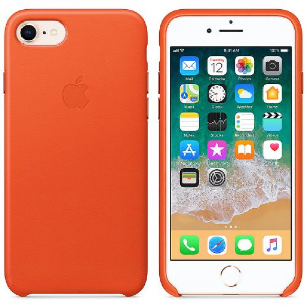 Чехол-накладка Apple iPhone SE 2/8/7 Leather Case Bright Orange (MRG82)