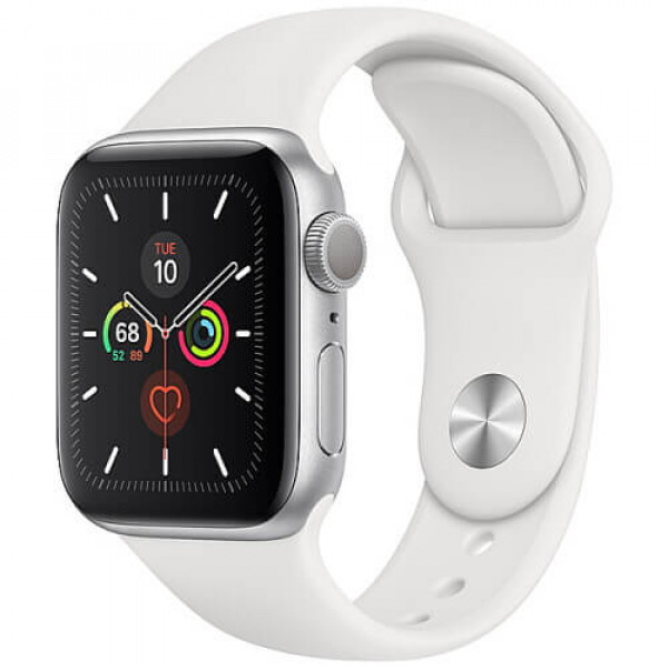 Apple WATCH Series 5 40mm Silver GPS Aluminium Case with White Sport Band (MWV62)