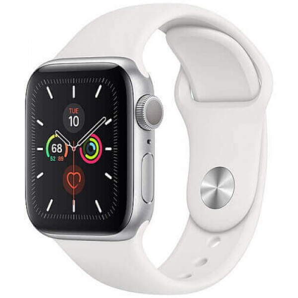 Apple WATCH Series 5 44mm Silver GPS Aluminium Case with White Sport Band (MWVD2)