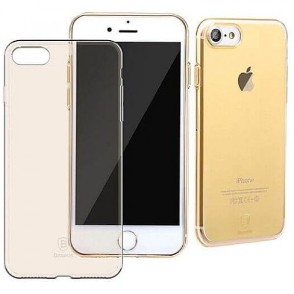 Чехол-накладка Baseus Simple Series Case (With-Pluggy) For iPhone7/8 Transparent Gold