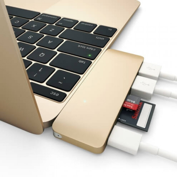 Хаб Satechi Type-C USB 3.0 Passthrough Hub Gold (ST-TCUPG)