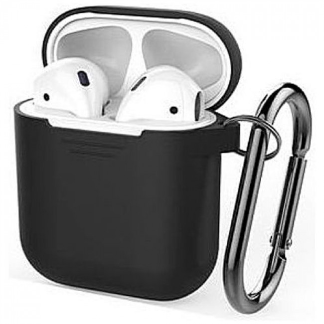 Чехол для наушников AhaStyle Silicone Case for AirPods with Belt Black  (X001JBMBJN) 4741327d2ef45