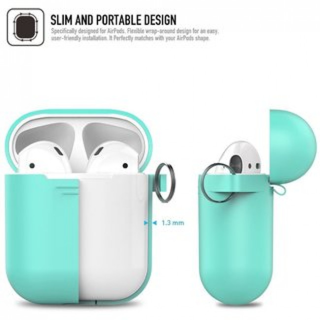 Чехол для наушников AhaStyle Silicone Case for AirPods with Belt Mint (X001JLDQH9)