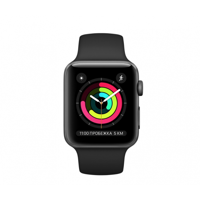 Apple WATCH Series 3, 42mm Space Gray Aluminium Case with Black Sport Band (MQL12)