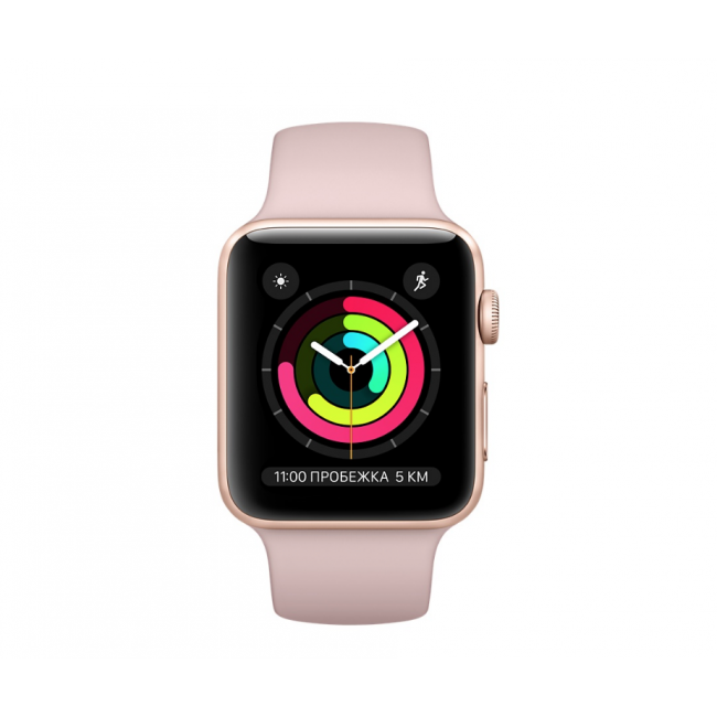 Apple WATCH Series 3, 38mm Gold Aluminium Case with Pink Sand Sport Band (MQKW2)