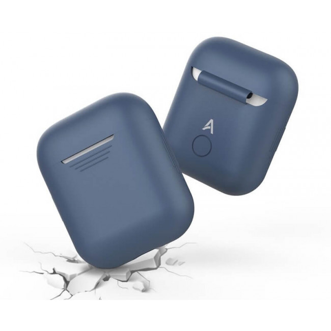 Чехол для наушников AhaStyle Silicone Case for AirPods Navy Blue (X001CWRP4)