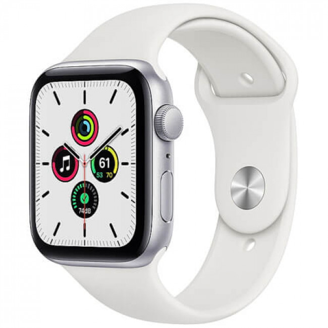 Apple WATCH SE 44mm Silver Aluminium Case with White Sport Band (MYDQ2)