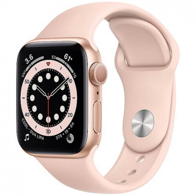 Apple WATCH Series 6 44mm Gold Aluminium Case with Pink Sport Band (M00E3)