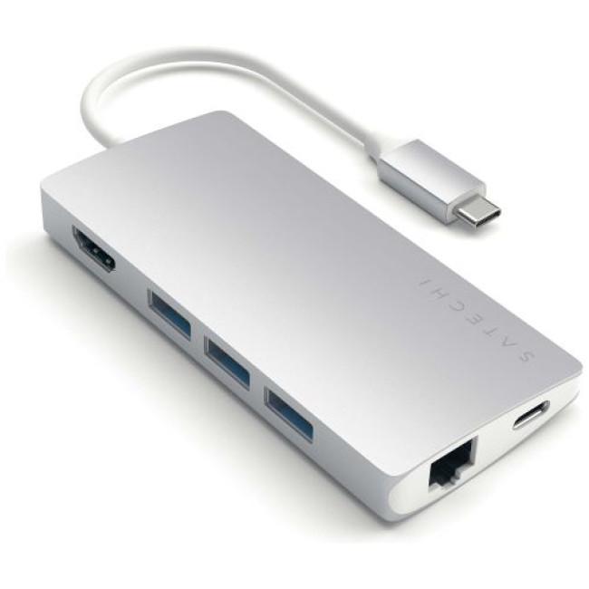 Переходник Satechi Type-C Multi-Port Adapter 4K with Ethernet V2 Silver (ST-TCMA2S)