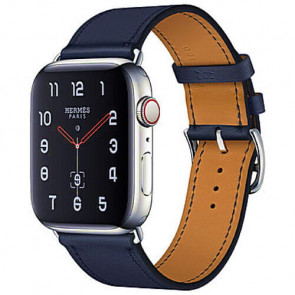 Apple WATCH Hermes Series 4 GPS + Cellular 44mm Stainless Steel Case with Bleu Indigo Swift Leather Single Tour (MU6W2)