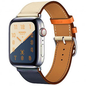 Apple WATCH Hermes Series 4 GPS + Cellular 44mm Stainless Steel Case with Indigo/Craie/Orange Swift Leather Single Tour (MU6X2)