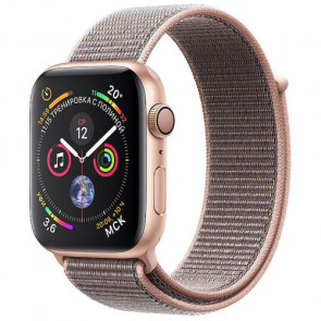 Apple WATCHSeries 4 GPS 44mm Gold Aluminum Case with Pink Sand Sport Loop (MU6G2)