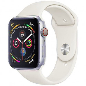 Apple WATCH Series 4 GPS + Cellular 44mm Silver Aluminum Case with White Sport Band (MTUU2)
