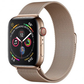 Apple WATCH Series 4 GPS + Cellular 44mm Gold Stainless Steel Case with Gold Milanese Loop (MTV82)