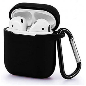 Чехол для наушников Blueo Liquid Silicon+Metal Hook Case for AirPods Black