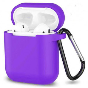 Чехол для наушников Blueo Liquid Silicon+Metal Hook Case for AirPods Purple