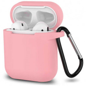 Чехол для наушников Blueo Liquid Silicon+Metal Hook Case for AirPods Paste Pink