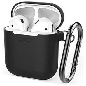 Чехол для наушников AhaStyle Silicone Case for AirPods with Belt Black (X001JBMBJN)