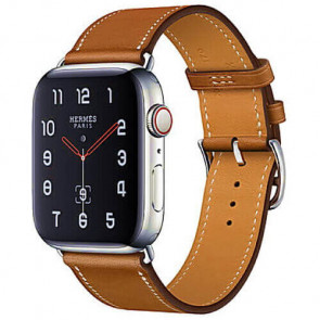 Apple WATCH Hermes Series 4 GPS + Cellular 40mm Stainless Steel Case with Fauve Barenia Leather Single Tour (MU6M2)