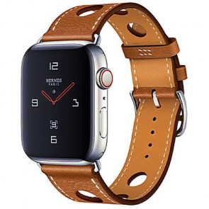 Apple WATCH Hermes Series 4 GPS + Cellular 44mm Stainless Steel Case with Fauve Grained Barenia Leather Single Tour Rallye (MU9D2)