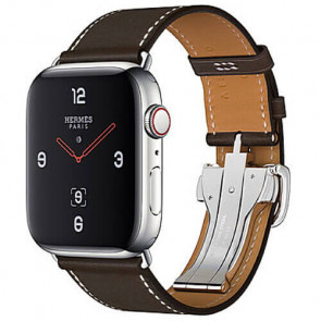 Apple WATCH Hermes Series 4 GPS + Cellular 44mm Stainless Steel Case with Ebene Barenia Leather Single Tour Deployment Buckle (MU6U2)