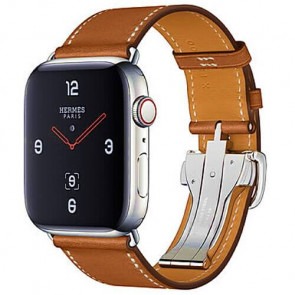 Apple WATCH Hermes Series 4 GPS + Cellular 44mm Stainless Steel Case with Fauve Barenia Leather Single Tour Deployment Buckle (MU6T2)