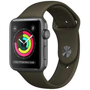 Apple WATCH Series 3, 42mm Space Grey Aluminium Case with Grey Sport Band (MR362)