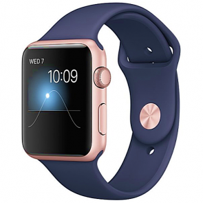 Apple WATCH Series 2, 42mm Rose Gold Aluminium Case with Midnight Blue Sport Band (MNPL2)