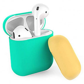 Чехол для наушников AhaStyle Silicone Case DUO Case for AirPods Mint Green/Yellow (X001V7NEHX)