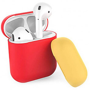 Чехол для наушников AhaStyle Silicone Case DUO Case for AirPods Red/Yellow (X001V7NEI7)