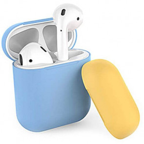 Чехол для наушников AhaStyle Silicone Case DUO Case for AirPods SkyBlue/Yellow (X001V7NHZR)
