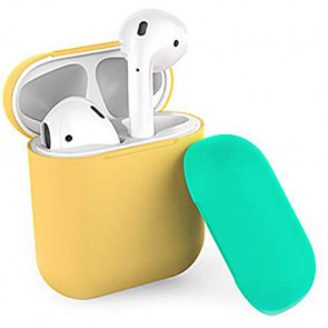 Чехол для наушников AhaStyle Silicone Case DUO Case for AirPods Yellow/Green (X001V7OD4B)