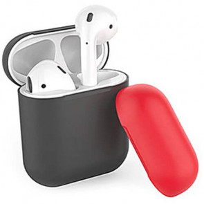 Чехол для наушников AhaStyle Silicone Case DUO Case for AirPods Black/Red (X001V7OVIT)