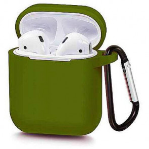 Чехол для наушников Blueo Liquid Silicon+Metal Hook Case for AirPods Army Green