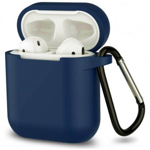 Чехол для наушников Blueo Liquid Silicon+Metal Hook Case for AirPods Midnight Blue
