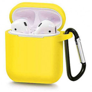 Чехол для наушников Blueo Liquid Silicon+Metal Hook Case for AirPods Yellow