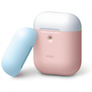 Чехол для наушников Elago A2 Duo Case Pink/White/Pastel Blue for Airpods with Wireless Charging (EAP2DO-PK-WHPBL)